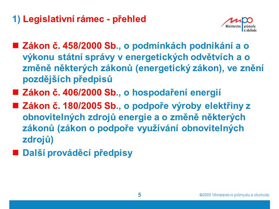  2009  Ministerstvo průmyslu a obchodu 16 1) Legislativní rámec - zákon o podpoře využívání obnovitelných zdrojů Vyhláška č.