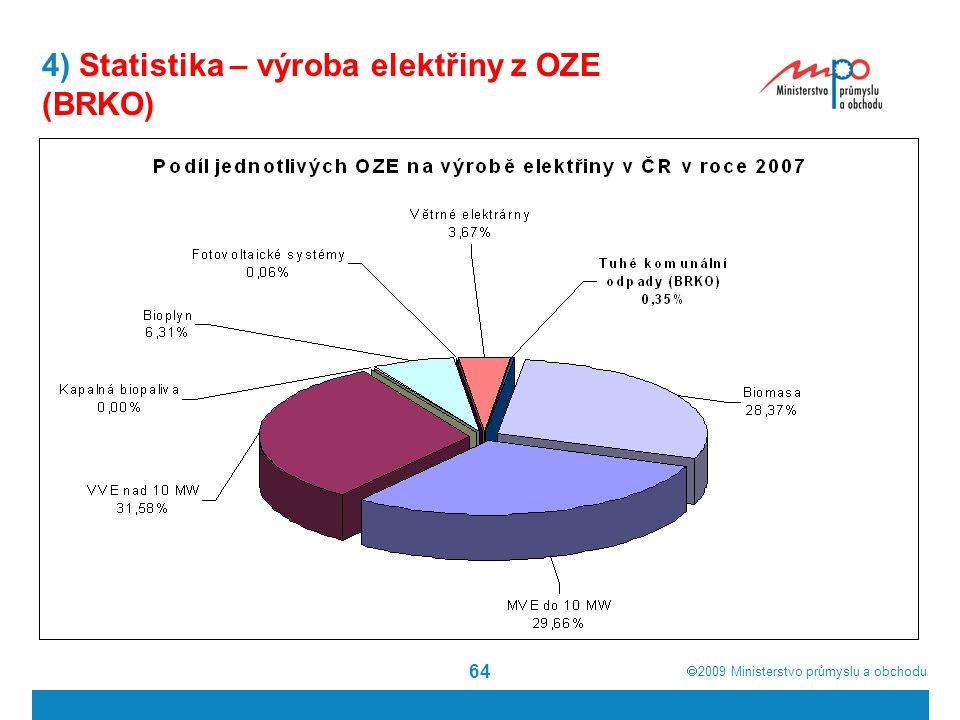  2009  Ministerstvo průmyslu a obchodu 64 4) Statistika – výroba elektřiny z OZE (BRKO)