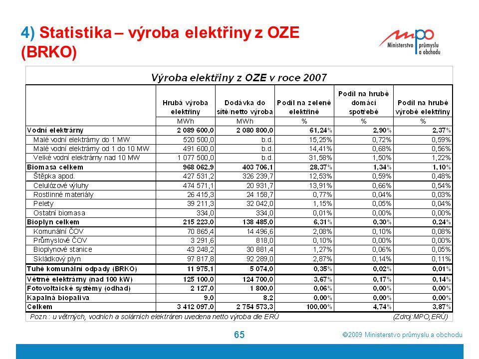  2009  Ministerstvo průmyslu a obchodu 65 4) Statistika – výroba elektřiny z OZE (BRKO)