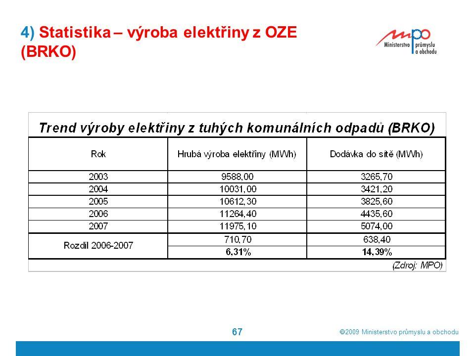  2009  Ministerstvo průmyslu a obchodu 67 4) Statistika – výroba elektřiny z OZE (BRKO)