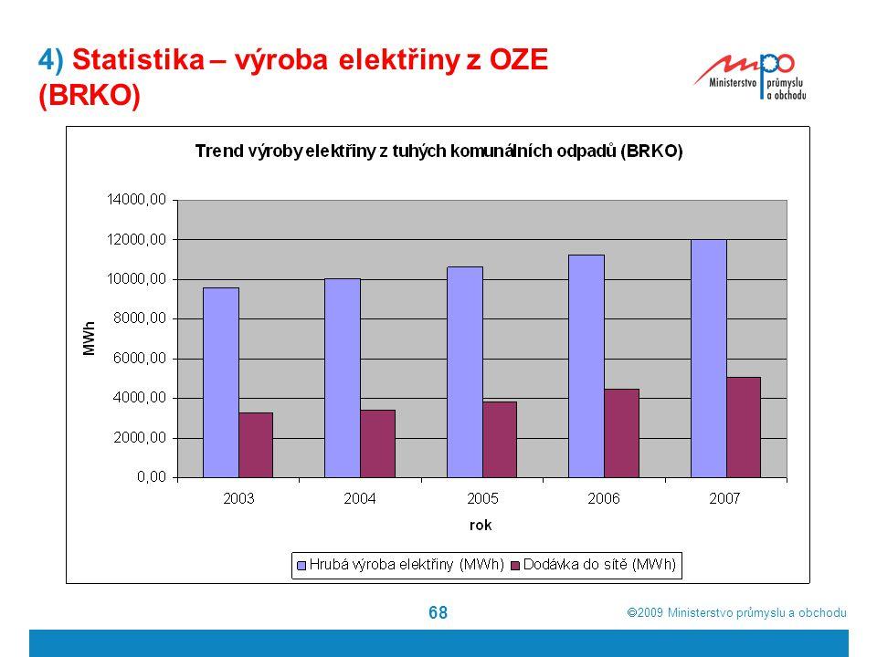  2009  Ministerstvo průmyslu a obchodu 68 4) Statistika – výroba elektřiny z OZE (BRKO)