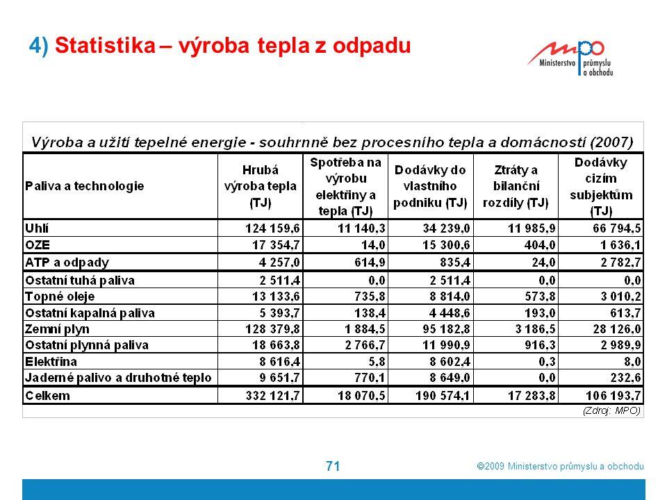  2009  Ministerstvo průmyslu a obchodu 71 4) Statistika – výroba tepla z odpadu