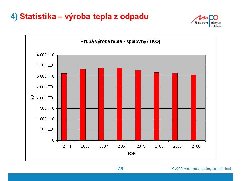  2009  Ministerstvo průmyslu a obchodu 78 4) Statistika – výroba tepla z odpadu
