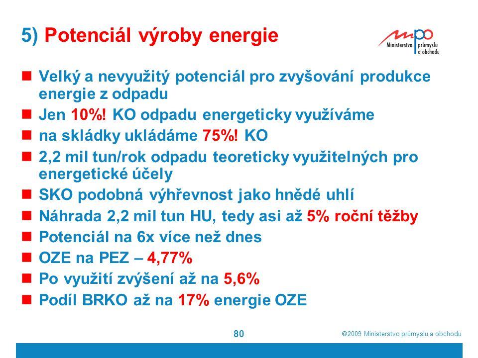  2009  Ministerstvo průmyslu a obchodu 80 5) Potenciál výroby energie Velký a nevyužitý potenciál pro zvyšování produkce energie z odpadu Jen 10%!