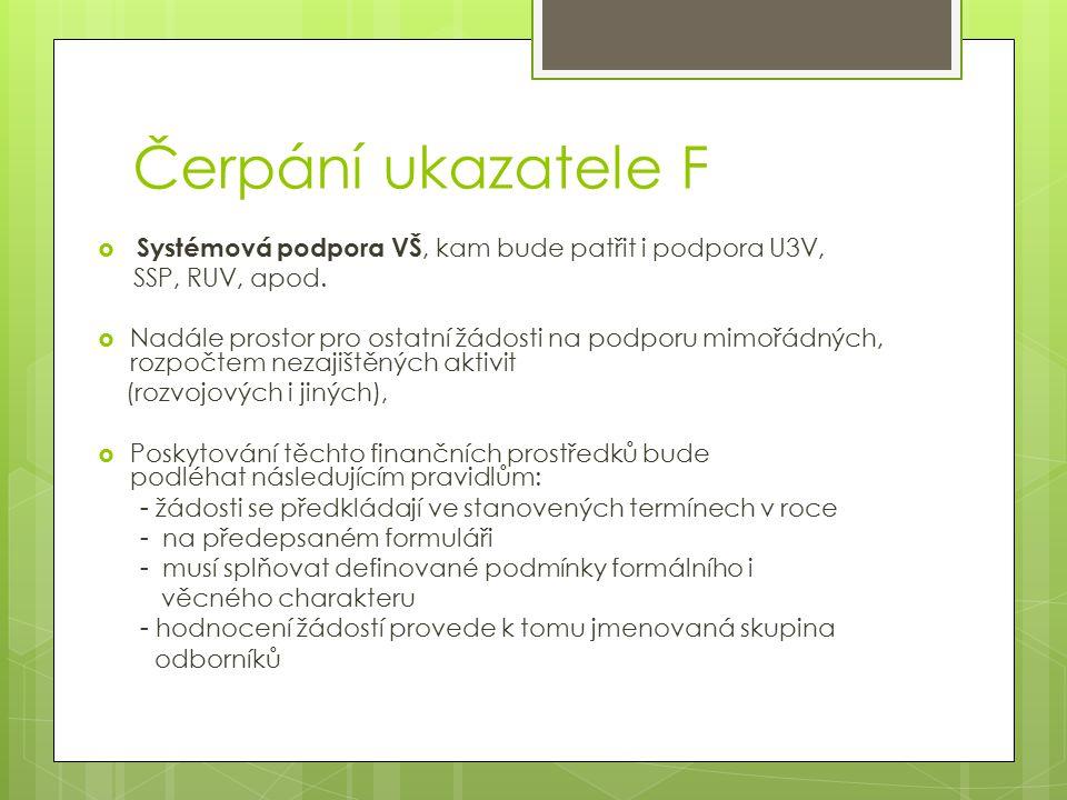 Čerpání ukazatele F  Systémová podpora VŠ, kam bude patřit i podpora U3V, SSP, RUV, apod.