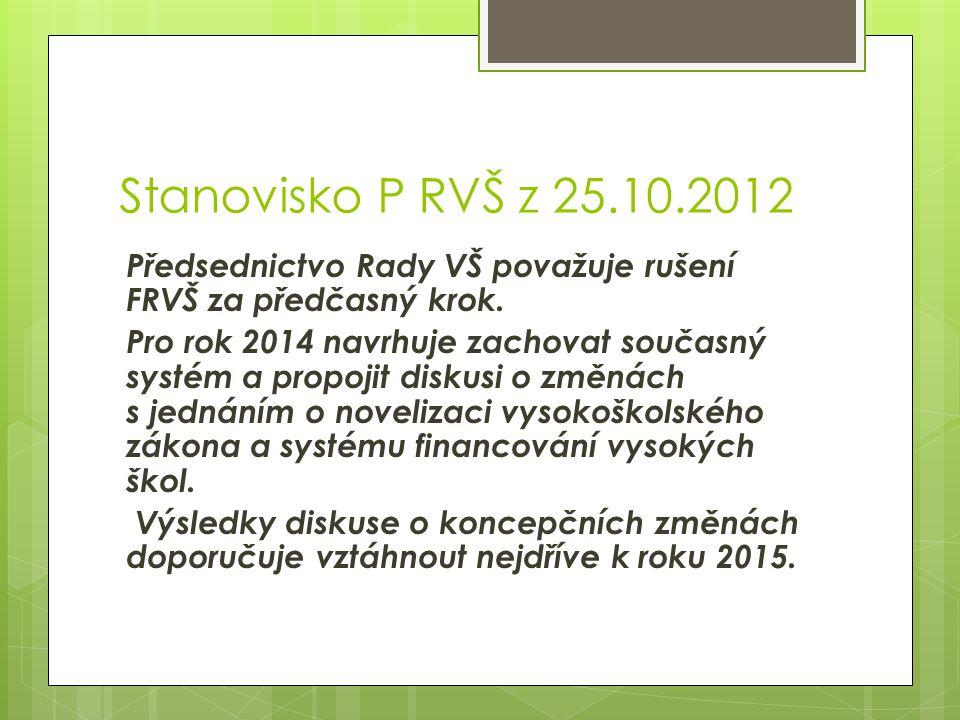 Stanovisko P RVŠ z 25.10.2012 Předsednictvo Rady VŠ považuje rušení FRVŠ za předčasný krok. Pro rok 2014 navrhuje zachovat současný systém a propojit