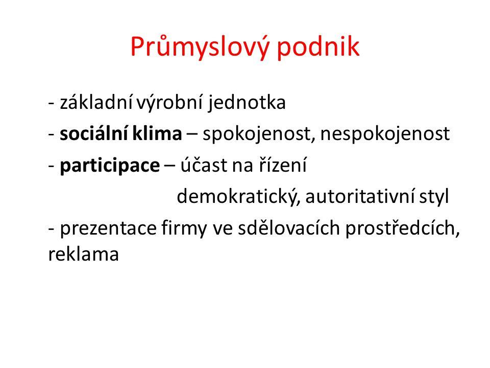 Průmyslový podnik - základní výrobní jednotka - sociální klima – spokojenost, nespokojenost - participace – účast na řízení demokratický, autoritativn