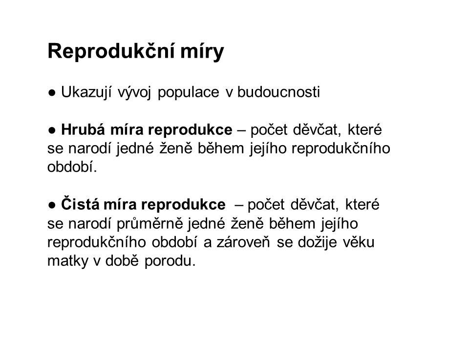 Reprodukční míry ● Ukazují vývoj populace v budoucnosti ● Hrubá míra reprodukce – počet děvčat, které se narodí jedné ženě během jejího reprodukčního