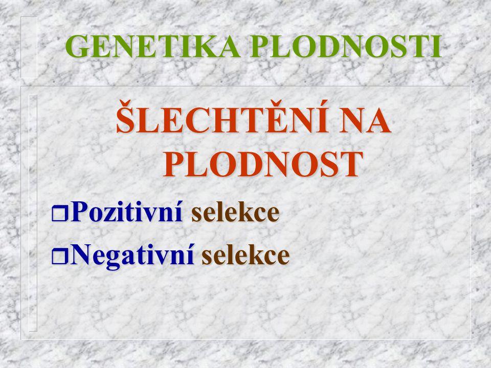 GENETIKA PLODNOSTI ŠLECHTĚNÍ NA PLODNOST r Pozitivní r Pozitivní selekce r Negativní r Negativní selekce