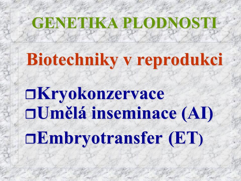 GENETIKA PLODNOSTI Genetické aspekty využití biotechnik v reprodukci r Rychlé r Rychlé genetické změny, vliv jednotlivce (MOET) r Možnost r Možnost testování potomstva r Sexace r Uchování r Uchování biodiversity r Transgenoze