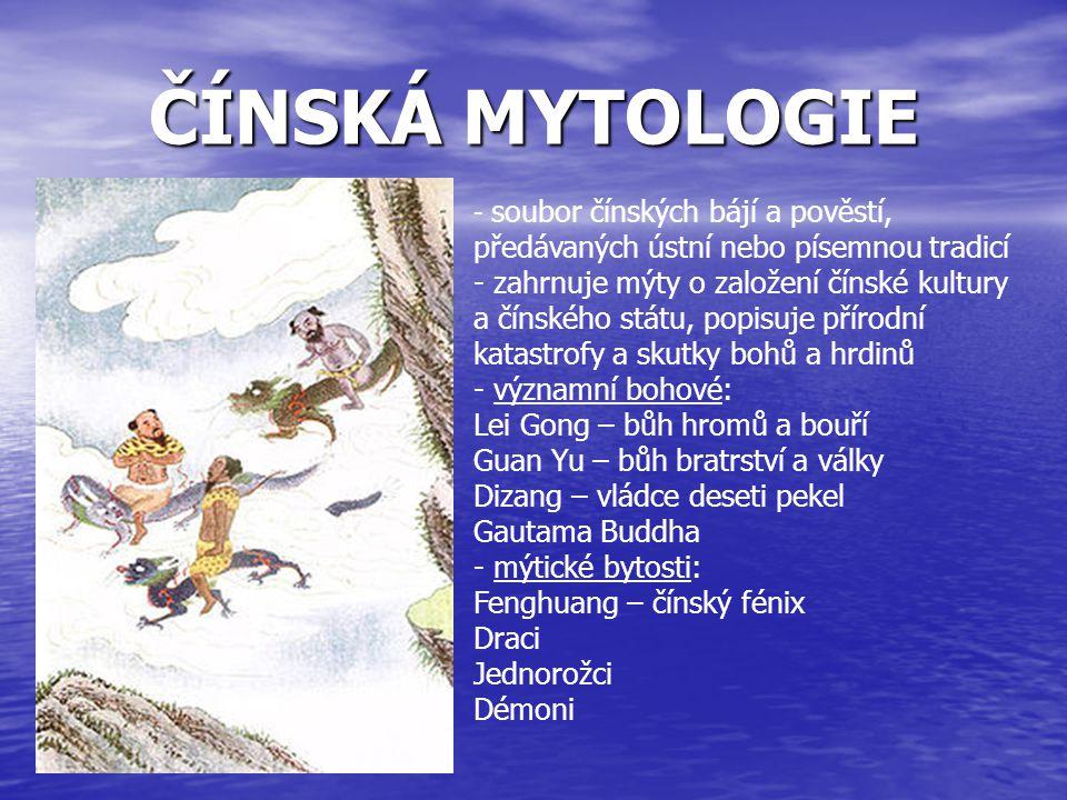 MAYSKÁ MYTOLOGIE - část mezoamerického bájesloví a zahrnuje všechny příběhy Mayů, ve kterých jsou zosobněny přírodní síly, božstva a hrdinové, kteří vzájemným působením hrají v příbězích hlavní role - h- hlavní bohové: Quetzalcoatl - opeřený had Itzamna - nejdůležitější bůh, stvořitel Ix Chel - bohyně Měsíce, léčitelství a deště Bulac Chabtan - bůh válek a lidských utrpení Bolon Tzaécab, K awil - bohové tvorby rodokmenů, ohňů a blesků Hunahpu a Xbalanque , Chaac - bohové deště Ik - bůh větru Ah Mak ik - bůh zemědělství Kisin - bůh zemětřesení Hum Cimil - bůh smrti Kinich Ahau - bůh Slunce