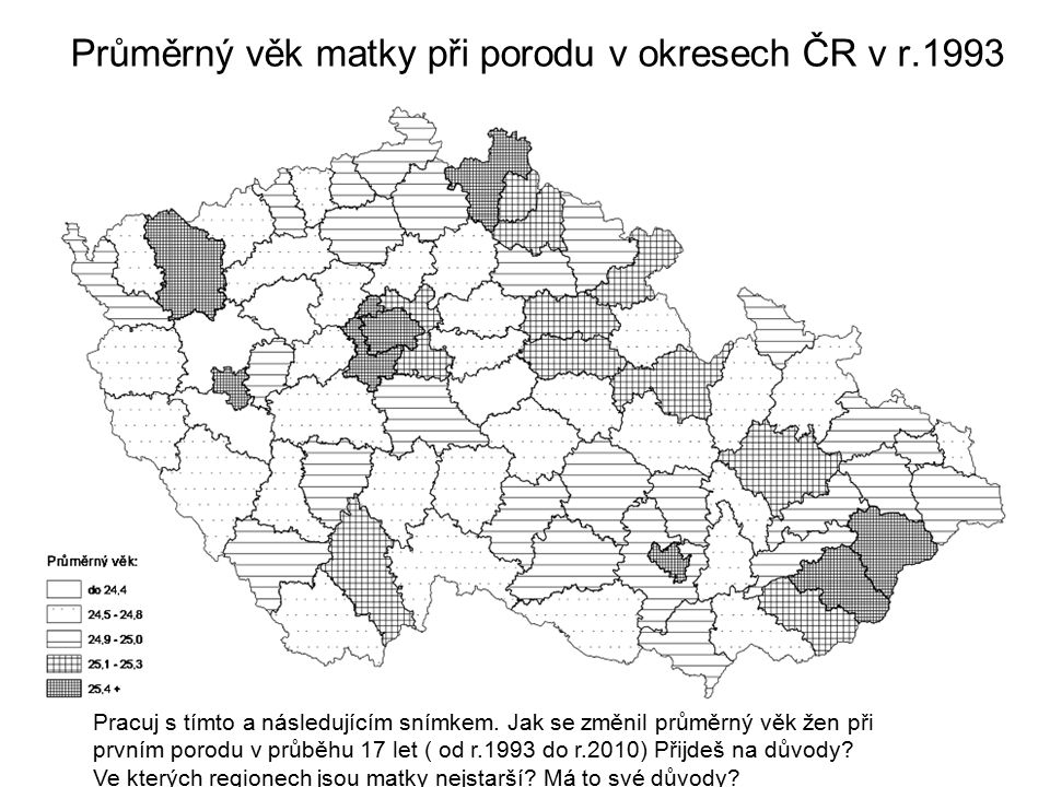 Průměrný věk matky při porodu v okresech ČR v r.1993 Pracuj s tímto a následujícím snímkem. Jak se změnil průměrný věk žen při prvním porodu v průběhu