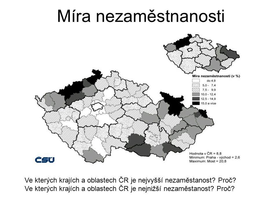 Míra nezaměstnanosti Ve kterých krajích a oblastech ČR je nejvyšší nezaměstanost? Proč? Ve kterých krajích a oblastech ČR je nejnižší nezaměstanost? P