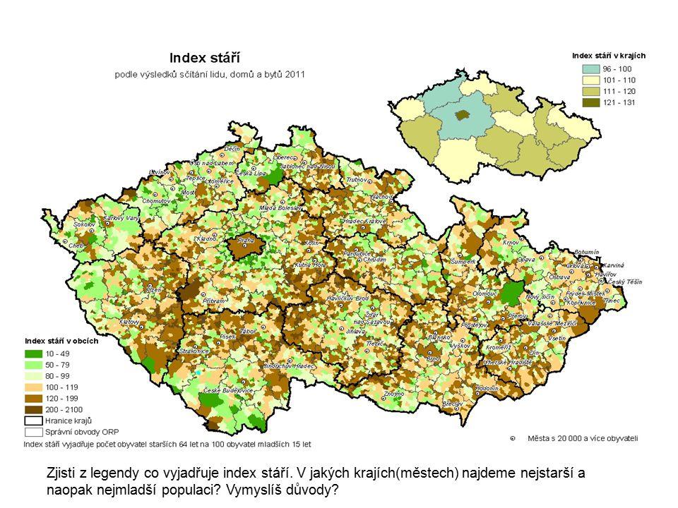 Zjisti z legendy co vyjadřuje index stáří. V jakých krajích(městech) najdeme nejstarší a naopak nejmladší populaci? Vymyslíš důvody?