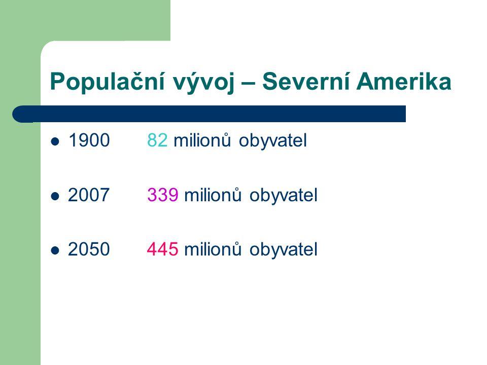Populační vývoj – Severní Amerika 1900 82 milionů obyvatel 2007 339 milionů obyvatel 2050 445 milionů obyvatel
