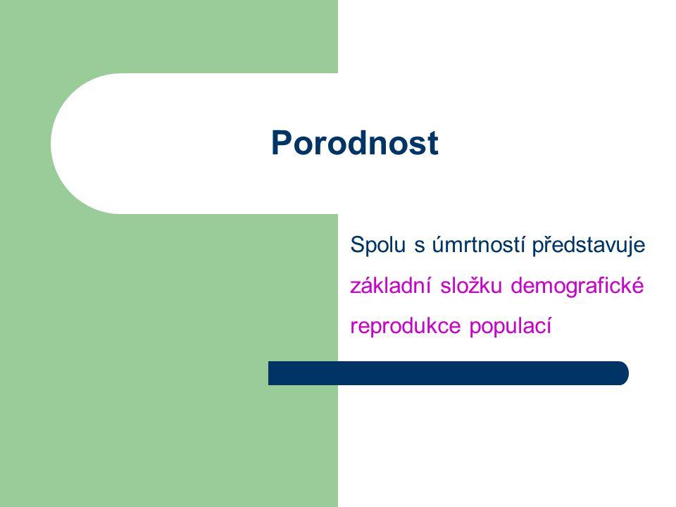 Porodnost Spolu s úmrtností představuje základní složku demografické reprodukce populací