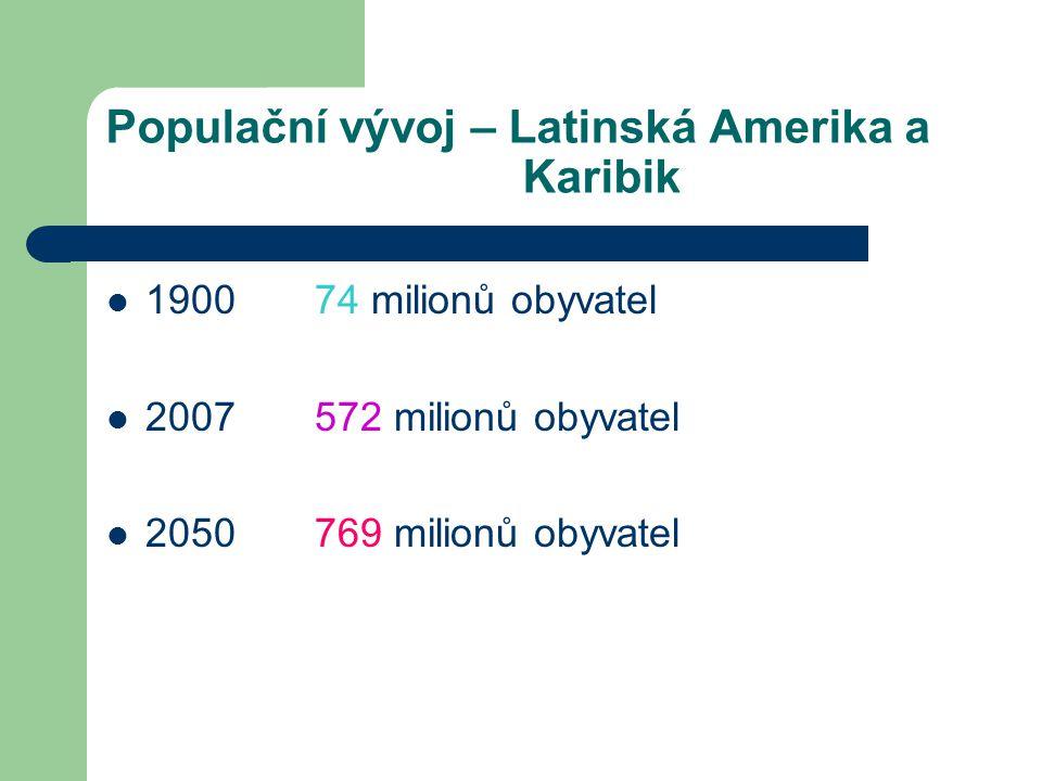 Populační vývoj – Latinská Amerika a Karibik 1900 74 milionů obyvatel 2007 572 milionů obyvatel 2050 769 milionů obyvatel