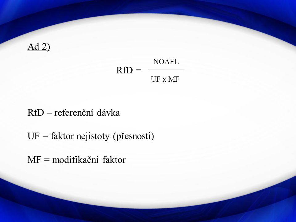 Ad 2) NOAEL RfD = UF x MF RfD – referenční dávka UF = faktor nejistoty (přesnosti) MF = modifikační faktor