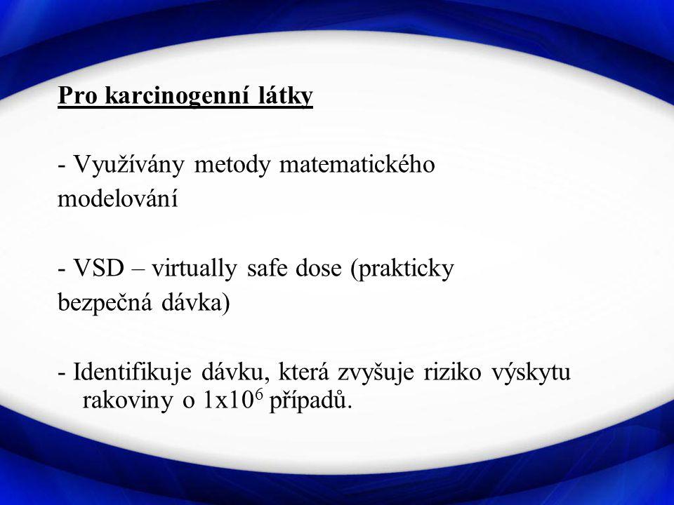 Pro karcinogenní látky - Využívány metody matematického modelování - VSD – virtually safe dose (prakticky bezpečná dávka) - Identifikuje dávku, která