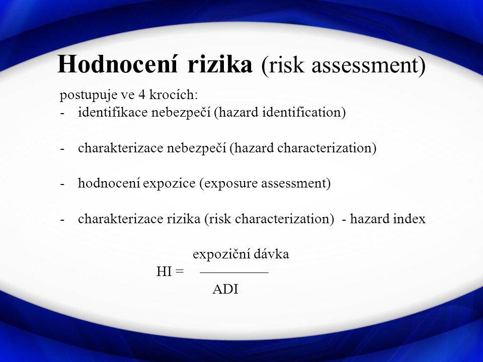 Hodnocení rizika (risk assessment) postupuje ve 4 krocích: -identifikace nebezpečí (hazard identification) -charakterizace nebezpečí (hazard characterization) -hodnocení expozice (exposure assessment) -charakterizace rizika (risk characterization) - hazard index expoziční dávka HI = ADI