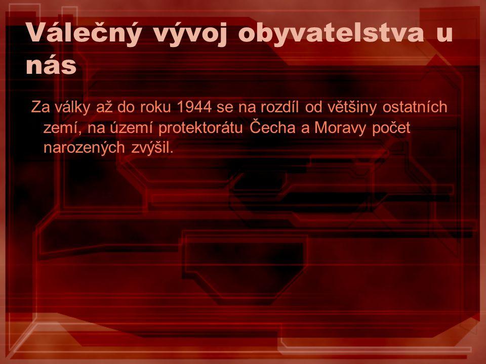 Válečný vývoj obyvatelstva u nás Za války až do roku 1944 se na rozdíl od většiny ostatních zemí, na území protektorátu Čecha a Moravy počet narozenýc