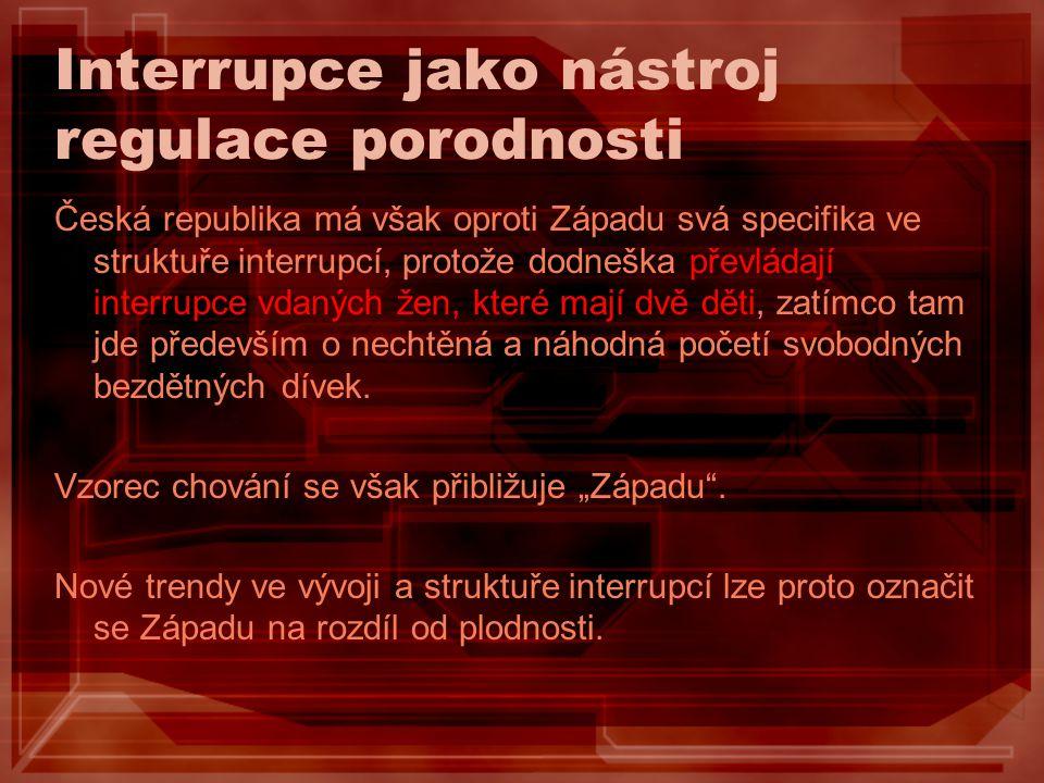 Interrupce jako nástroj regulace porodnosti Česká republika má však oproti Západu svá specifika ve struktuře interrupcí, protože dodneška převládají i