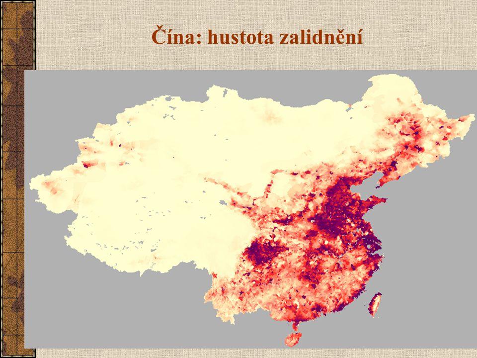 Čína: hustota zalidnění