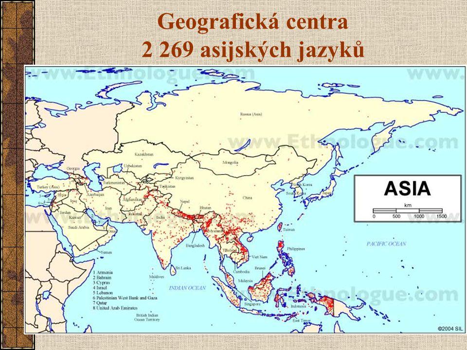 Geografická centra 2 269 asijských jazyků