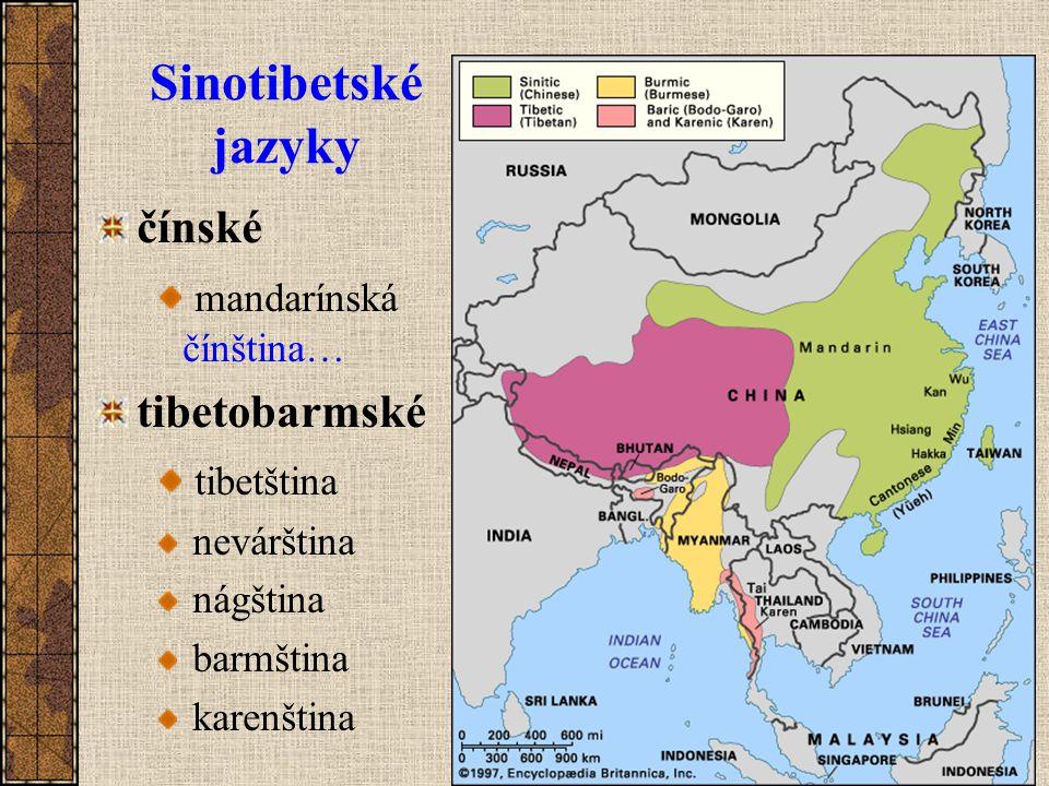 Sinotibetské jazyky čínské mandarínská čínština… tibetobarmské tibetština nevárština nágština barmština karenština