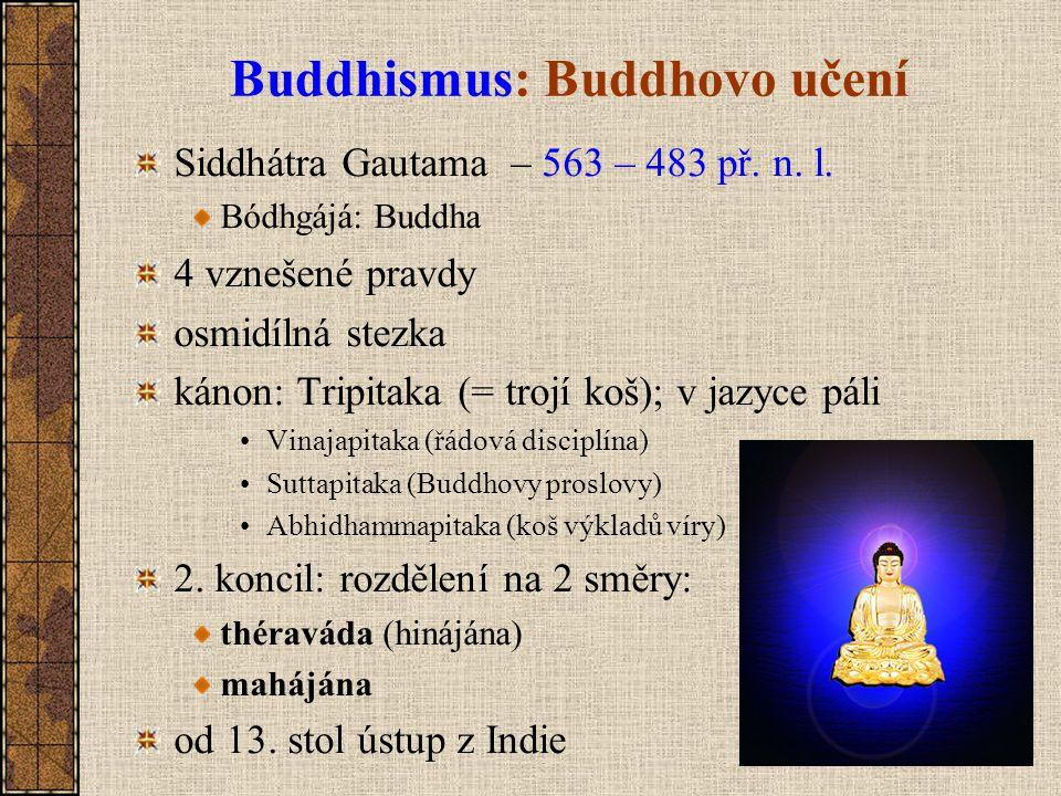 Buddhismus: Buddhovo učení Siddhátra Gautama – 563 – 483 př. n. l. Bódhgájá: Buddha 4 vznešené pravdy osmidílná stezka kánon: Tripitaka (= trojí koš);