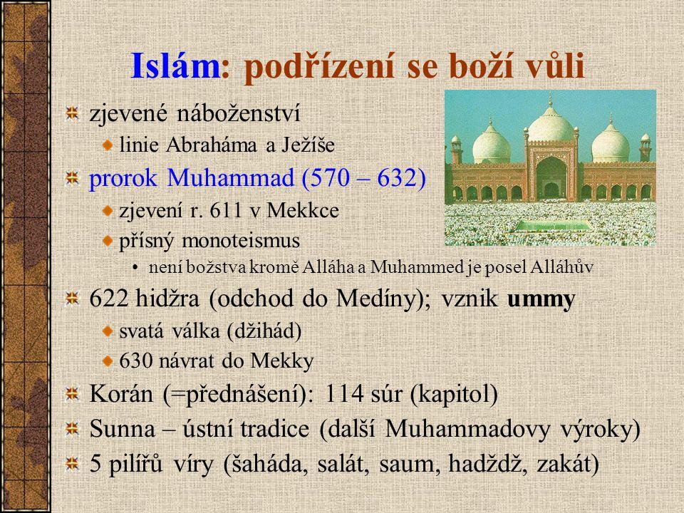 Islám: podřízení se boží vůli zjevené náboženství linie Abraháma a Ježíše prorok Muhammad (570 – 632) zjevení r. 611 v Mekkce přísný monoteismus není