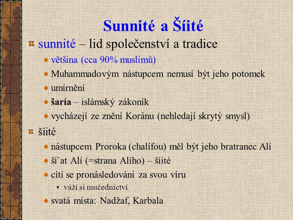 Sunnité a Šíité sunnité – lid společenství a tradice většina (cca 90% muslimů) Muhammadovým nástupcem nemusí být jeho potomek umírnění šaría – islámsk