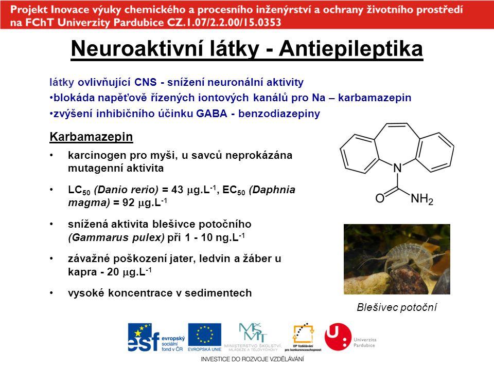 Neuroaktivní látky - Antiepileptika Karbamazepin karcinogen pro myši, u savců neprokázána mutagenní aktivita LC 50 (Danio rerio) = 43  g.L -1, EC 50