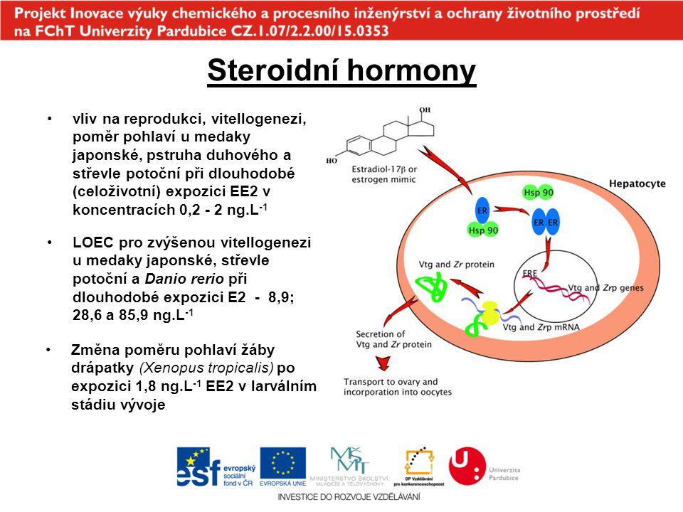 Steroidní hormony vliv na reprodukci, vitellogenezi, poměr pohlaví u medaky japonské, pstruha duhového a střevle potoční při dlouhodobé (celoživotní)