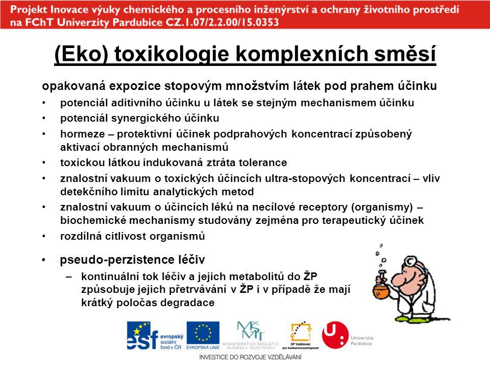 (Eko) toxikologie komplexních směsí opakovaná expozice stopovým množstvím látek pod prahem účinku potenciál aditivního účinku u látek se stejným mecha