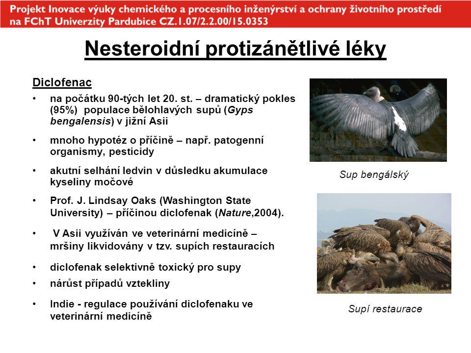 Nesteroidní protizánětlivé léky Ibuprofen Medaka japonská (Oryzias latipes) - vitelogeneze, zvětšená játra a zvýšená produkce vajíček test na Daphnia magma - redukce populací v rozmezí koncentrací 0-80  g.L -1 okřehek (Lemna minor) - 7 dní, 1 000  g.L -1, inhibice růstu (75% pokles) sinice Synechocystis - 5 dní, 10  g.L -1 stimulace růstu (75% nárůst) Medaka japonská Okřehek menší Ibuprofen