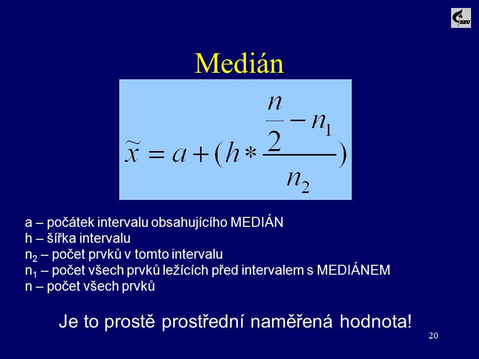 20 Medián a – počátek intervalu obsahujícího MEDIÁN h – šířka intervalu n 2 – počet prvků v tomto intervalu n 1 – počet všech prvků ležících před inte