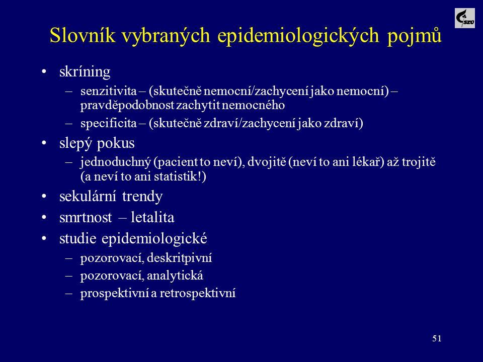 51 Slovník vybraných epidemiologických pojmů skríning –senzitivita – (skutečně nemocní/zachycení jako nemocní) – pravděpodobnost zachytit nemocného –s