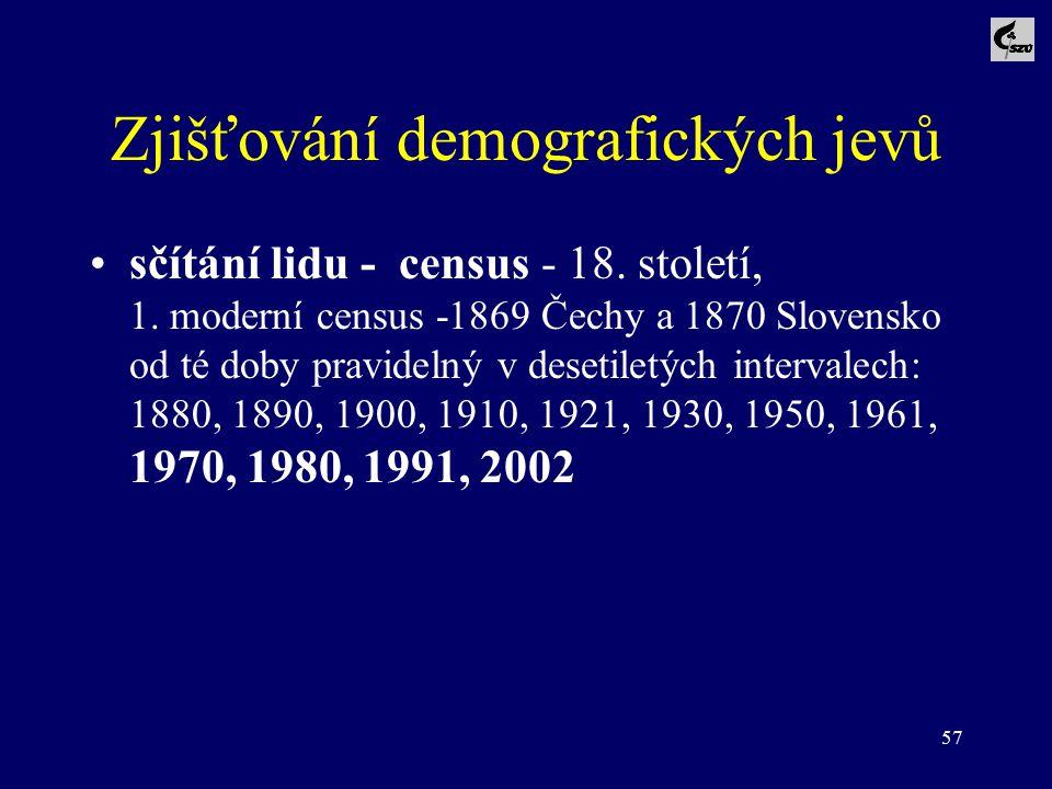 57 Zjišťování demografických jevů sčítání lidu - census - 18. století, 1. moderní census -1869 Čechy a 1870 Slovensko od té doby pravidelný v desetile