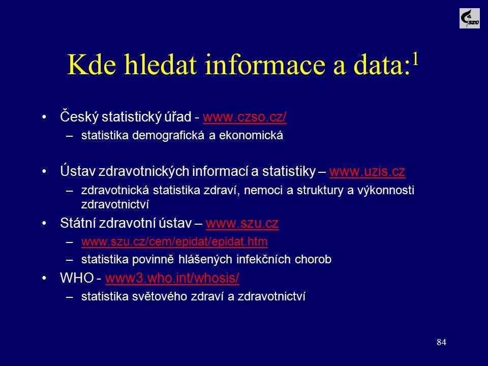 84 Kde hledat informace a data: 1 Český statistický úřad - www.czso.cz/www.czso.cz/ –statistika demografická a ekonomická Ústav zdravotnických informa