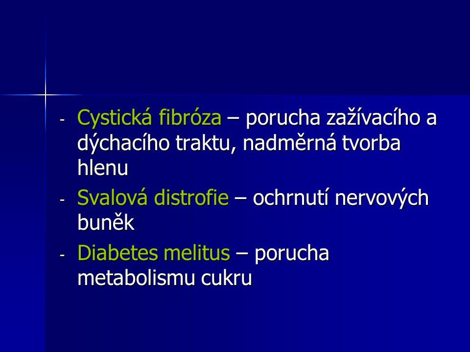 - Cystická fibróza – porucha zažívacího a dýchacího traktu, nadměrná tvorba hlenu - Svalová distrofie – ochrnutí nervových buněk - Diabetes melitus –