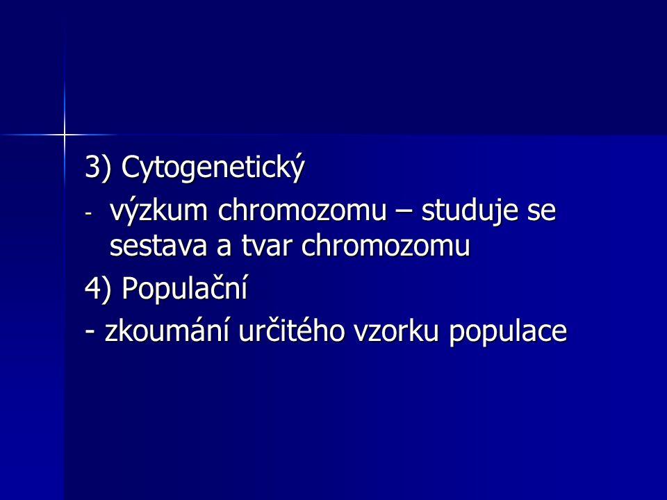 3) Cytogenetický - výzkum chromozomu – studuje se sestava a tvar chromozomu 4) Populační - zkoumání určitého vzorku populace
