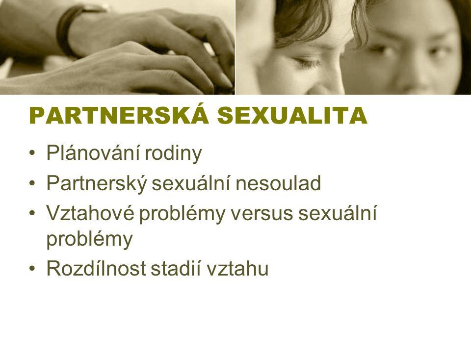 PARTNERSKÁ SEXUALITA Plánování rodiny Partnerský sexuální nesoulad Vztahové problémy versus sexuální problémy Rozdílnost stadií vztahu