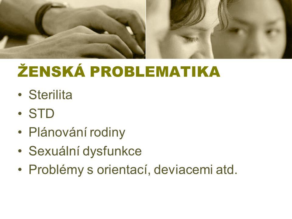 ŽENSKÁ PROBLEMATIKA Sterilita STD Plánování rodiny Sexuální dysfunkce Problémy s orientací, deviacemi atd.