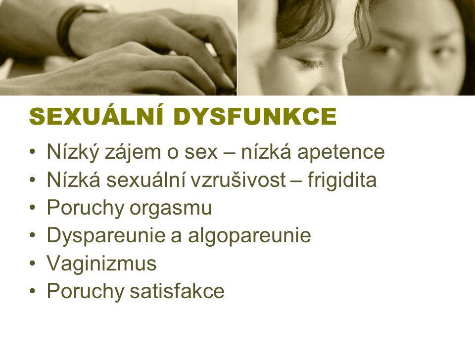 SEXUÁLNÍ DYSFUNKCE Nízký zájem o sex – nízká apetence Nízká sexuální vzrušivost – frigidita Poruchy orgasmu Dyspareunie a algopareunie Vaginizmus Poru