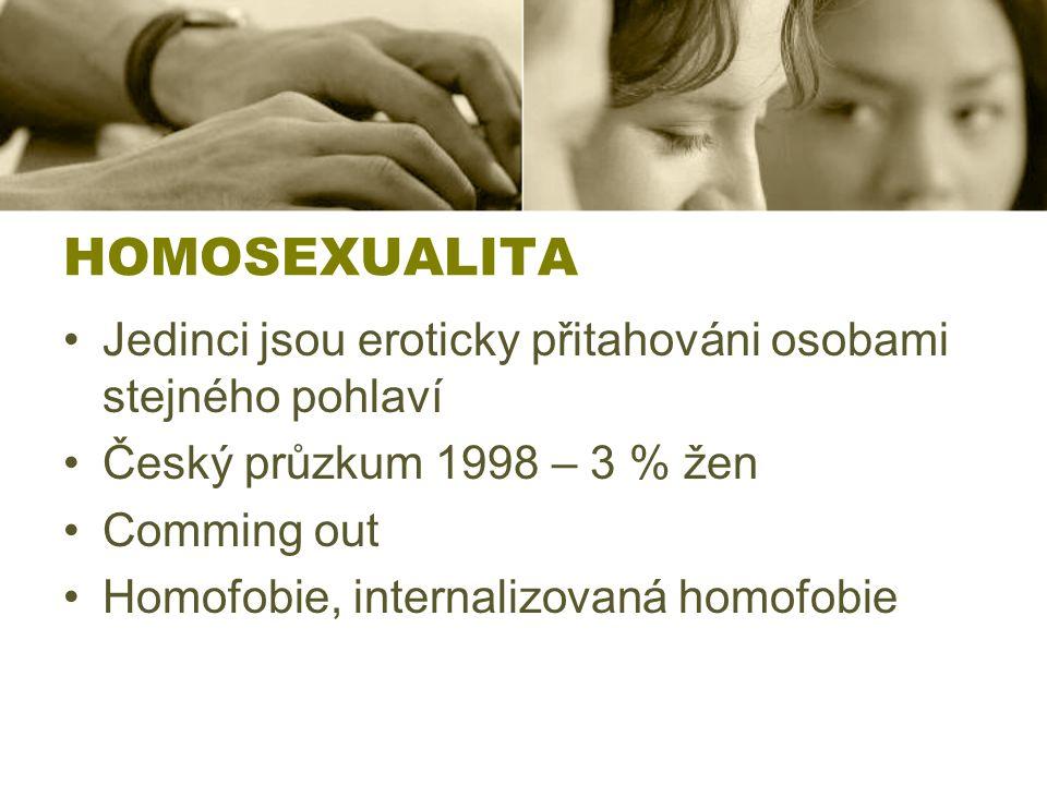 HOMOSEXUALITA Jedinci jsou eroticky přitahováni osobami stejného pohlaví Český průzkum 1998 – 3 % žen Comming out Homofobie, internalizovaná homofobie