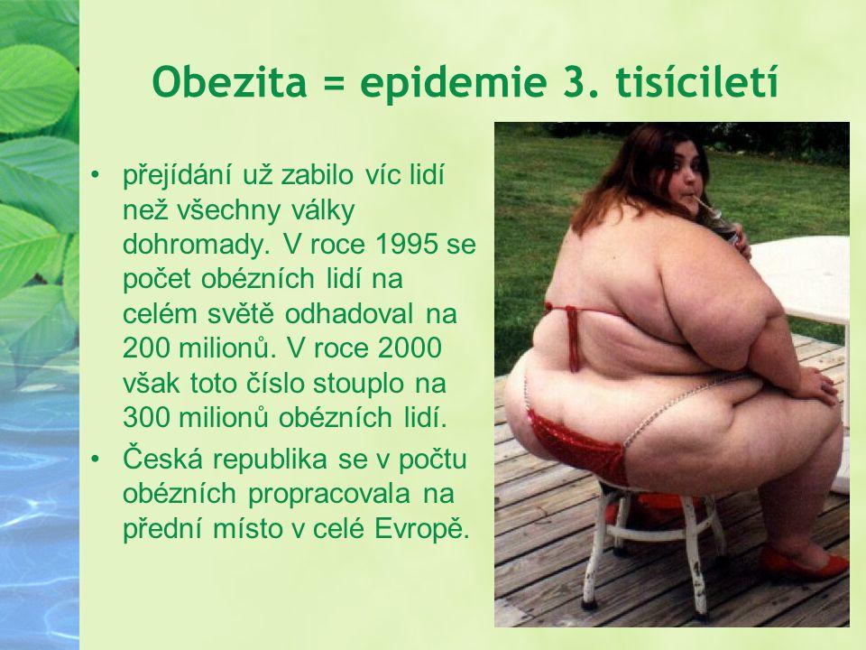 Obezita = epidemie 3. tisíciletí přejídání už zabilo víc lidí než všechny války dohromady. V roce 1995 se počet obézních lidí na celém světě odhadoval