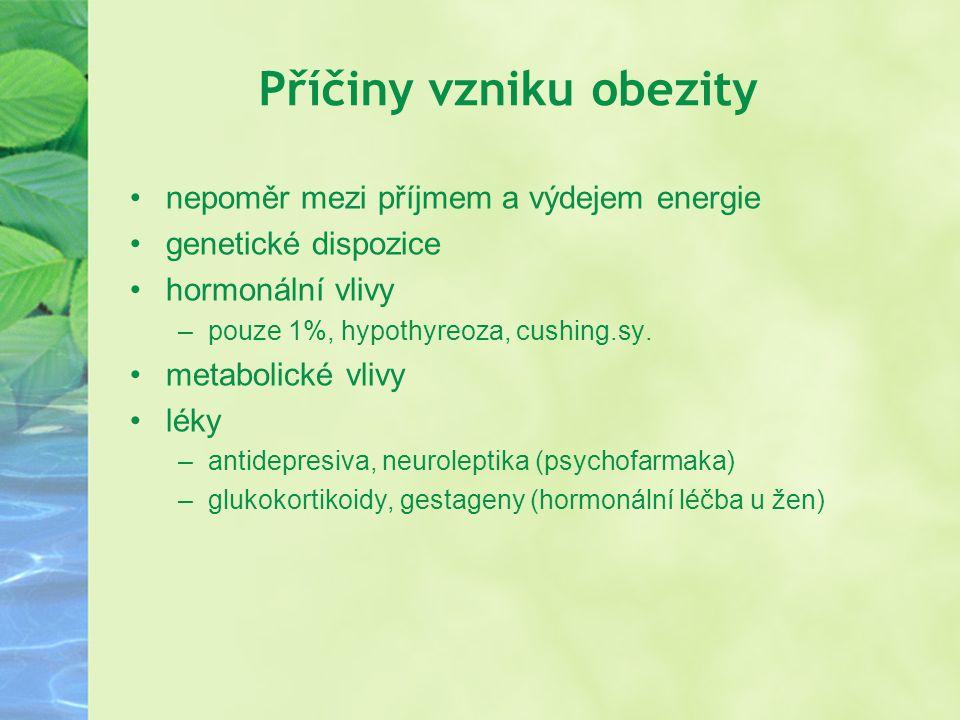 Příčiny vzniku obezity nepoměr mezi příjmem a výdejem energie genetické dispozice hormonální vlivy –pouze 1%, hypothyreoza, cushing.sy. metabolické vl