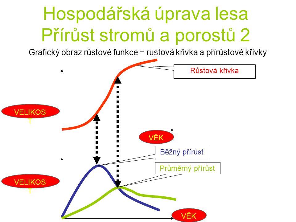 Hospodářská úprava lesa Přírůst stromů a porostů 2 Grafický obraz růstové funkce = růstová křivka a přírůstové křivky Průměrný přírůst Běžný přírůst R