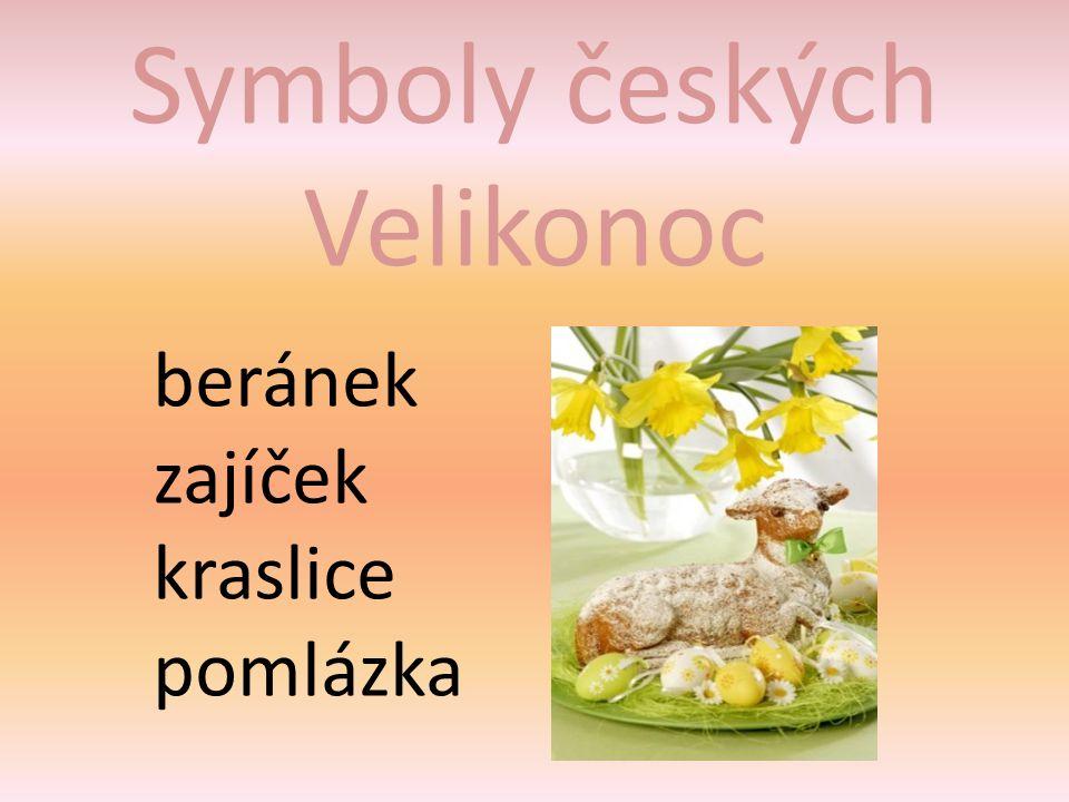 Symboly českých Velikonoc beránek zajíček kraslice pomlázka
